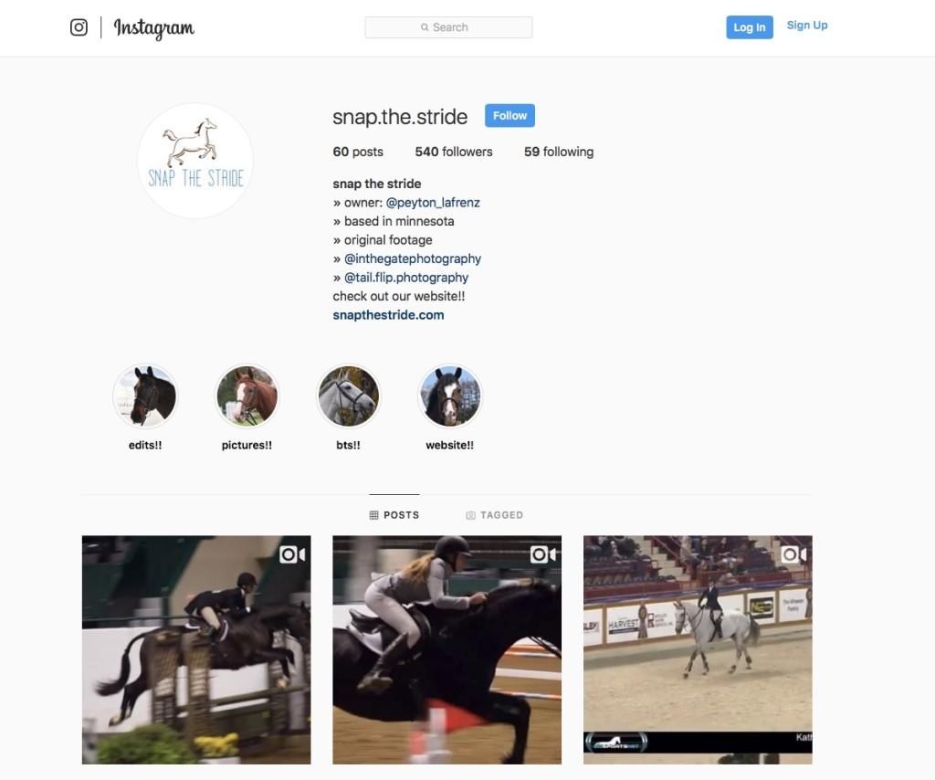 Snap the Stride Instagram Peyton